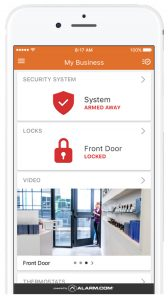 Smart security app business property protection services alarm and surveillance camera technology