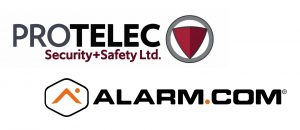 ProTELEC Security + Safety property protection services logo and Alarm.com alarm and surveillance products logo
