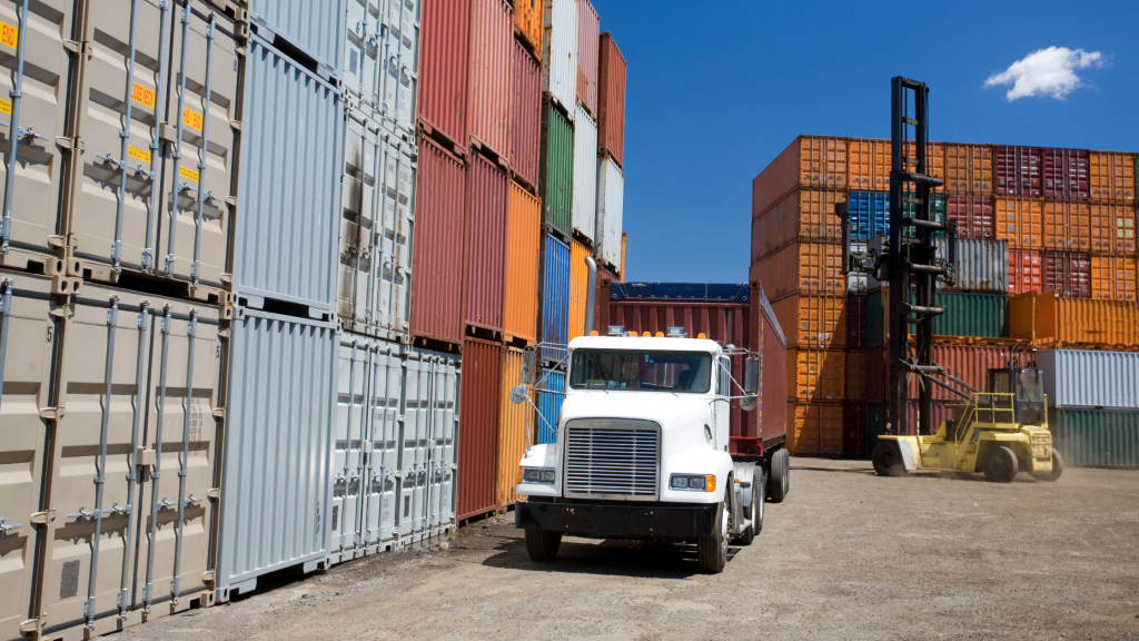 Freight containers trucking drop yard